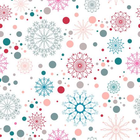copo de nieve: Patr�n de los copos de nieve sin fisuras con puntos. Navidad de fondo, cubierta, textil, embalaje, dise�o de p�ginas web. Vectores
