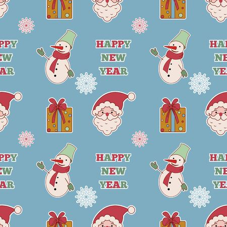 walpaper: Cute christmas seamless doodle pattern with Santa and snowman, gift and celebration quote. Walpaper, background, textile, wrapper.