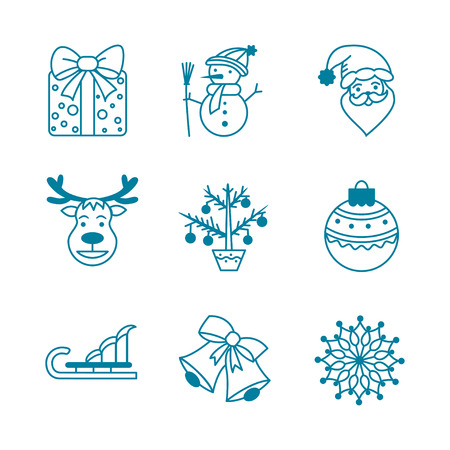 reindeer: Collection Christmas icons with gift, snowman, santa claus, reindeer,  christmas tree,  christmas ball,bell, sleigh and  snowflake.