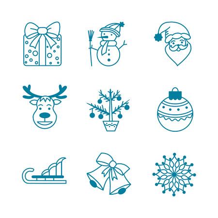 reno: Iconos Colecci�n de Navidad con regalos, mu�eco de nieve, pap� noel, reno, �rbol de navidad, bolas de navidad, campana, trineo y copo de nieve.