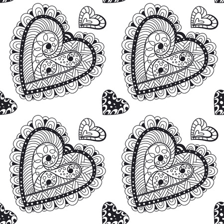 wrapper: Seamless contour  pattern with doodle hearts. Wallpaper, textile, backdrop, cover, wrapper.