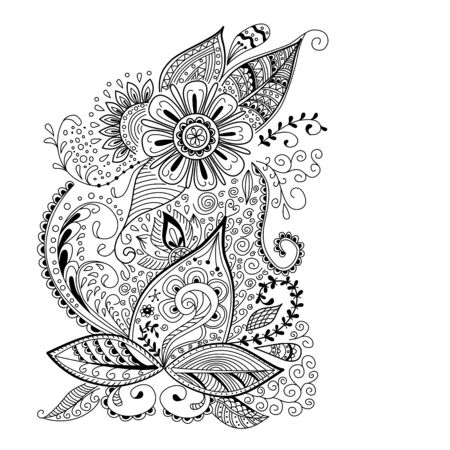 Abstract floral background in doodle or henna mehndi style. Hand drawn ink pattern made by trace from personal sketch. Abstract background, cover, design for bag, knapsack, notebook, datebook. Illustration