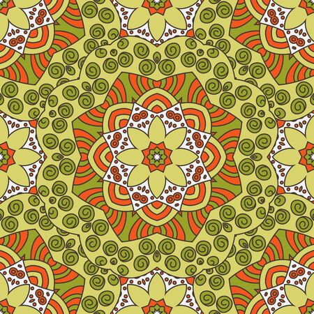 asian and indian ethnicities: Seamless  vector  background with mandala.  Islam, Arabic, Indian, ottoman style. Background, wallpaper, textile.