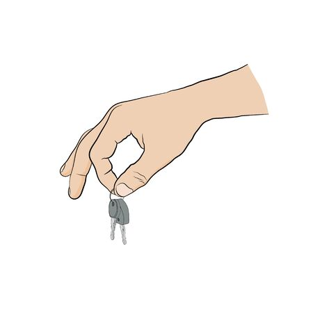 two fingers: man holding keys with two fingers. Hand with key - icon Illustration