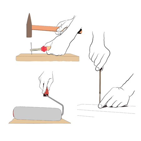 perforate: Contour hands with colored tools. Set industrial  icon - 1 Illustration