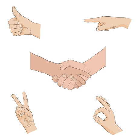 human hands - sign language, isolated on white background