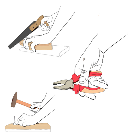 perforate: Contour hands with colored tools. Set industrial  icon - 2