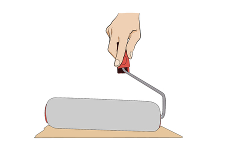 paintroller: Man holding  paint-roller. Icon with hand and pain-roller isolated on white. Illustration