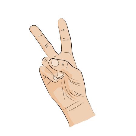 handsign: Hand-sign language. Victory, V-shape