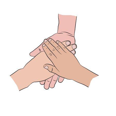 manos unidas: Las manos encima de uno al otro. tres manos