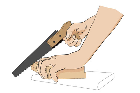 handsaw: Man holding handsaw. Man sawing board. Icon with hands and handsaw. Illustration