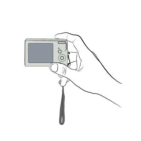 man holding transparent: Male hand line art style with colored digital camera. Man holding digital camera. Man pushing button on digital camera. Hand with digital camera on transparent background.