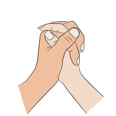 woman's hand: Man holding womans hand. Illustration
