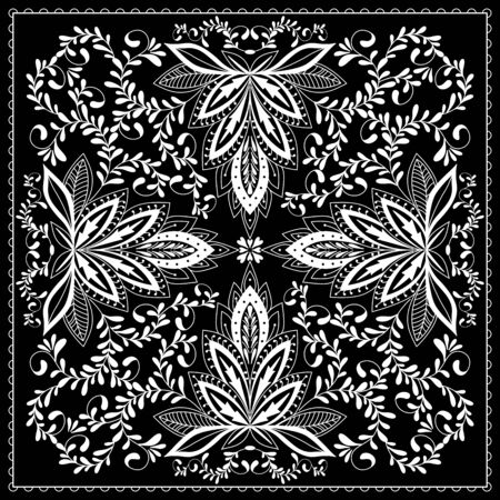 ascot: Black and white abstract bandana print with  element henna style. Square pattern design for pillow, carpet, rug. Design for silk neck scarf, kerchief, hanky