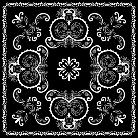 hanky: Black and white abstract bandana print with  element henna style. Square pattern design for pillow, carpet, rug. Design for silk neck scarf, kerchief, hanky