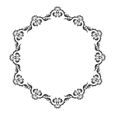 curlicue: Vintage round frame. Decorative romantic frame for your design for any holiday