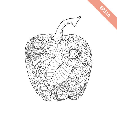 bell pepper: Vector illustration cartoon bell pepper with floral ornament. Coloring book page Illustration