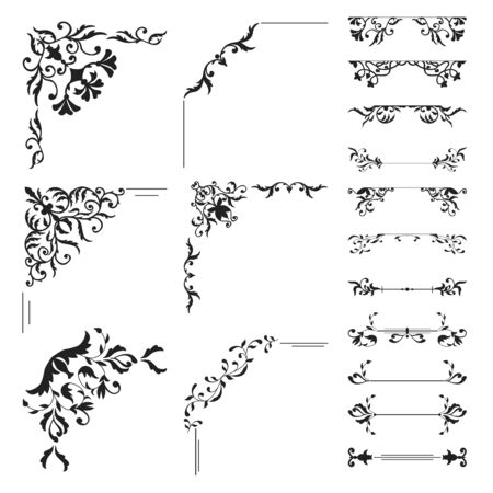 curlicue: Floral corner and divider collection. Decorative element