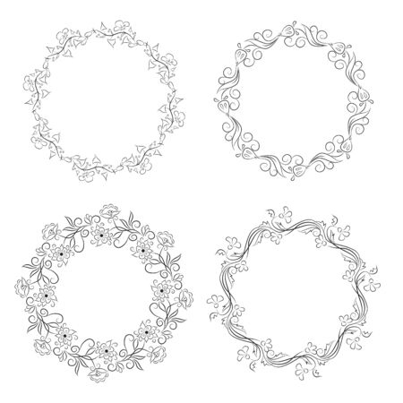 curlicue: Floral vintage round frames collection. Decorative romantic frame set for your design for any holiday Illustration