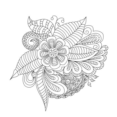 Hand drawn floral background. Design for cover,  bag, knapsack, notebook, datebook . Coloring book page.