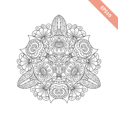 trigonal: Abstract  ornament. Mandala. Background. Design for adult coloring book page.