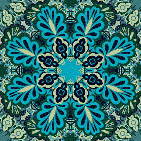 hanky: Seamless  vector  background with mandala.  Islam, Arabic, Indian, ottoman style. Background, wallpaper, textile.  Design for silk neck scarf, kerchief, hanky, pillow, hanky, pillow, carpet, rug Illustration
