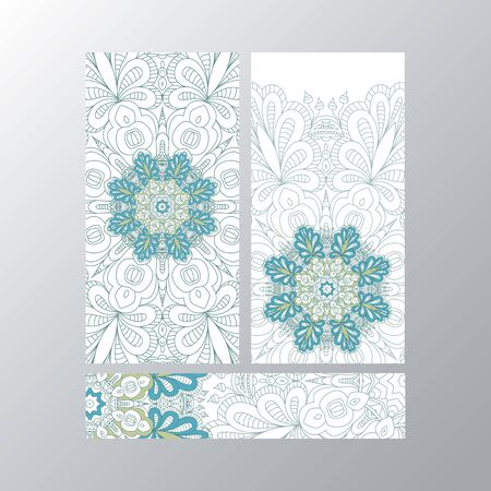 asian and indian ethnicities: Banner templates with mandala pattern. Design for flyer, banner, invitation, greeting card. Ornament flyer