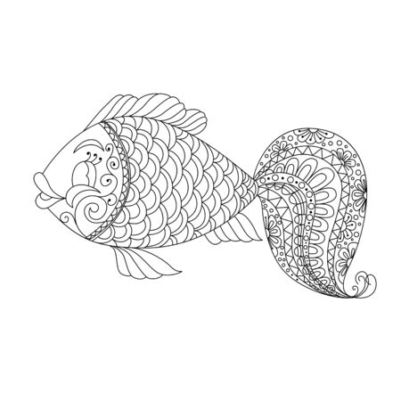Cute cartoon fish with ornament. Background, cover. Design for coloring page Illustration