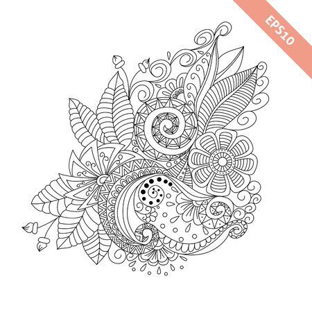 knapsack: Hand drawn floral background  doodle  style. Design for cover,  bag, knapsack, notebook, datebook . Coloring book page. Illustration