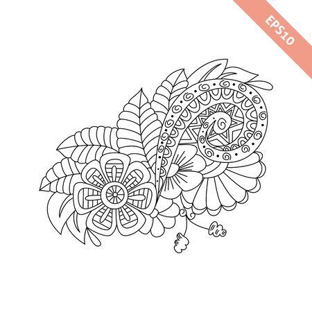 datebook: Hand drawn floral background  doodle  style. Design for cover,  bag, knapsack, notebook, datebook . Coloring book page. Illustration