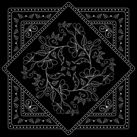 ascot: Black and white  bandana print with floral pattern. Square pattern design for pillow, carpet, rug. Design for silk neck scarf, kerchief, hanky Illustration