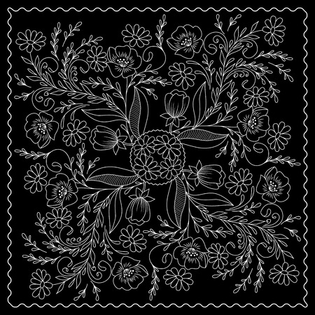 kerchief: Black and white  bandana print with floral pattern. Square pattern design for pillow, carpet, rug. Design for silk neck scarf, kerchief, hanky Illustration