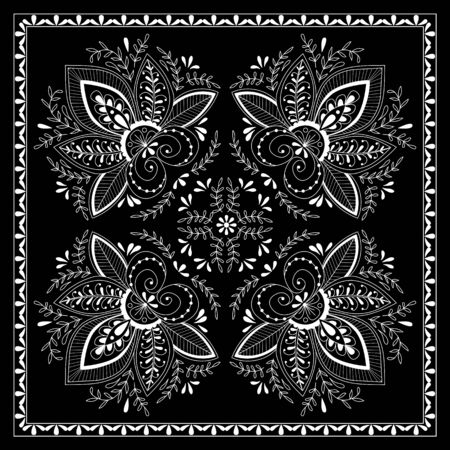 silk scarf: Black and white abstract bandana print with  element henna style. Square pattern design for pillow, carpet, rug. Design for silk neck scarf, kerchief, hanky