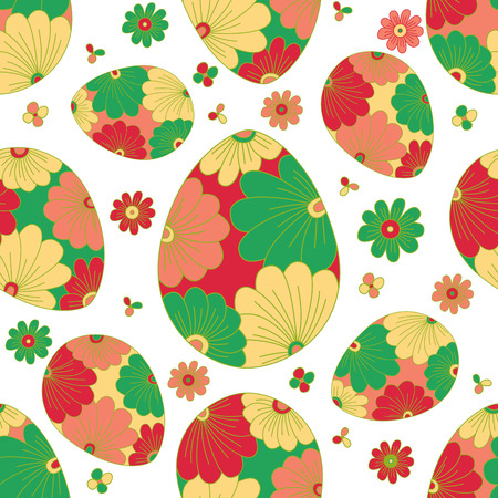 Colorful seamless pattern with easter egg. Spring background.