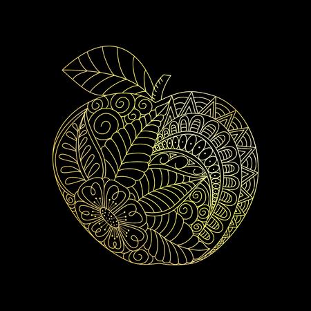 Coloriage Pomme Et Oignon Dessin Anime.Pomme D Or Caricature Dessinee A La Main Sur Fond Noir Vous Pouvez Utiliser Pour Le Tatouage La Page A Colorier Le Gaufrage