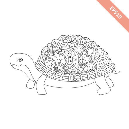 Stylized Cartoon Underwater Composition Of Turtle Tortoise