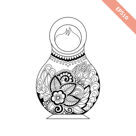 Black line nesting doll with floral ornament isolated on white background. Decorative element. Coloring page.