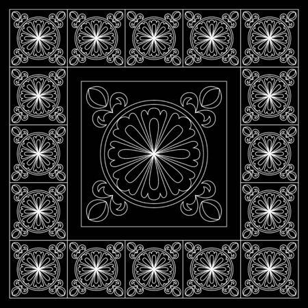 Zwart-witte bandanadruk met marokkaanse stijl in de plavuizen.