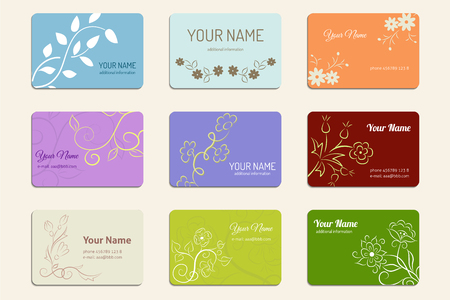 Set of ornate business card template with floral silhouette. Ilustração