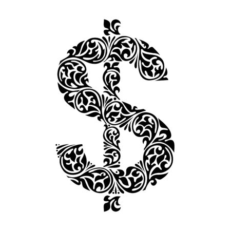 Aufwändiges Dollarzeichen der dekorativen Eleganz. Vektorgrafik