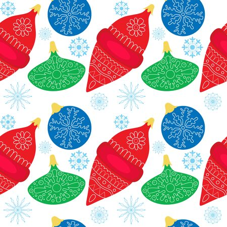 Seamless colorfull pattern with Christmas ball and snowflakes. Background, backdrop, textile, wrapper. Illustration