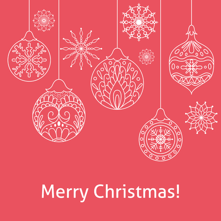 Merry Christmas Red Background With Ball And Snowflake Template