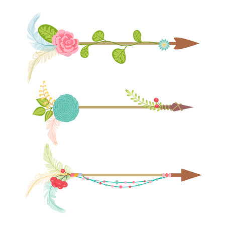 Vintage arrow set with floral element and feather Illustration