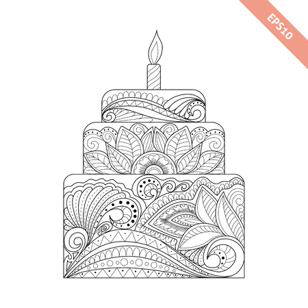 Big cake with candle with floral doodle ornament. Coloring page book. Ornate black line sweet cake