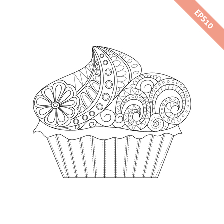 Cartoon hand drawn cupcake with floral doodle ornament. Coloring page book. Ornate black line sweet cupcake