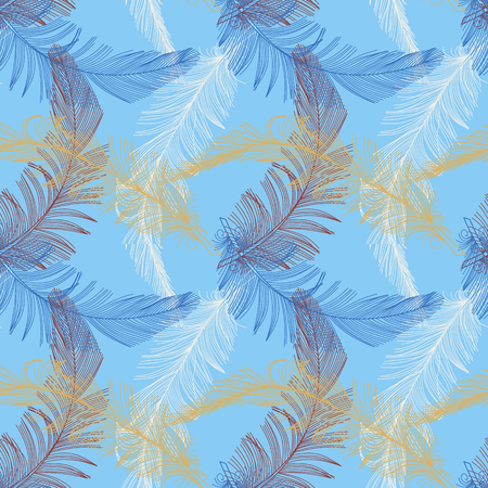 Hand drawn  feather  in trendy color on blue backgound.  Seamless pattern. Background, wrap, cover, fabric, decoration.