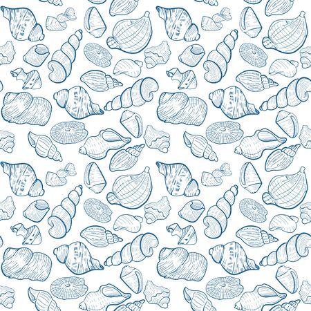 Hand drawn seashell pattern 矢量图片