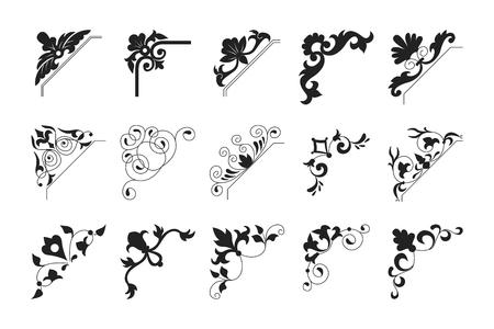 Collectie zwarte vintage hoek. Decoratief bloemenelement voor elk ontwerp voor u. Kan worden gebruikt voor bruiloft, romantisch uitnodigingsvignet, felicitatie en ander ontwerp.