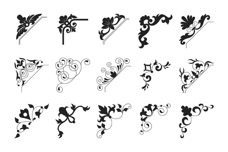 Collection black vintage corner. Decorative floral element set for any design for you. Can be used for wedding, romantic invitation vignette, congratulation and other design.