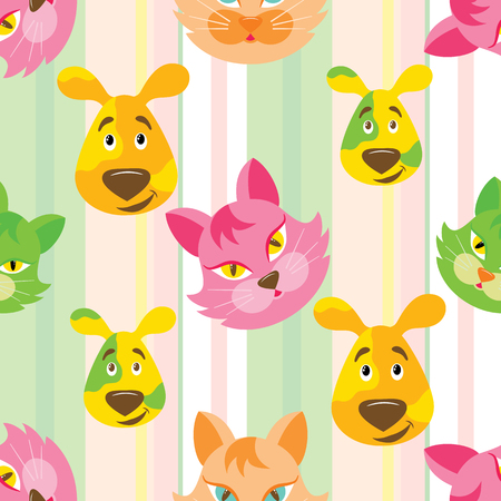 Funny cartoon cat and dog seamless childish pattern on stripe background. Background, fabric, wrapper, backdrop. The vector file has elements that are not cropped - a clipping mask is used for easy editing. 일러스트